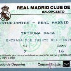 Coleccionismo deportivo: ENTRADA REAL MADRID BALONCESTO PARTIDO ESTUDIANTES - REAL MADRID TEKA PALACIO DEPORTES MADRID. Lote 20469058