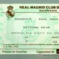 Coleccionismo deportivo: ENTRADA REAL MADRID BALONCESTO PARTIDO F JOVENTUT - REAL MADRID TEKA PALACIO DEPORTES MADRID. Lote 20481597