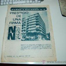 Coleccionismo deportivo: HOJA PUBLICITARIA DE CONSTRUCCIONES NÚÑEZ Y NAVARRO. 1969. IDEAL PARA ENMARCAR. Lote 20775240