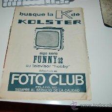 Coleccionismo deportivo: HOJA PUBLICITARIA DE TELEVISORES KOLSTER. 1969. IDEAL PARA ENMARCAR. Lote 20775276