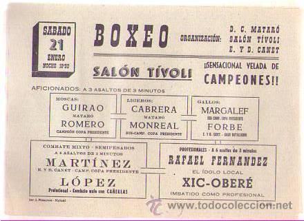 PUBLICIDAD BOXEO EN SALÓN TÍVOLI MATARO / AÑOS 60 (Coleccionismo Deportivo - Documentos de Deportes - Otros)