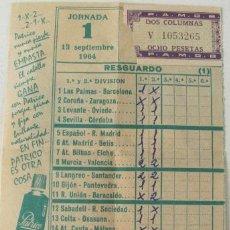 Coleccionismo deportivo: BOLETO QUINIELA DE FUTBOL JORNADA 1 - 13 SEPTIEMBRE DE 1964. Lote 22015745
