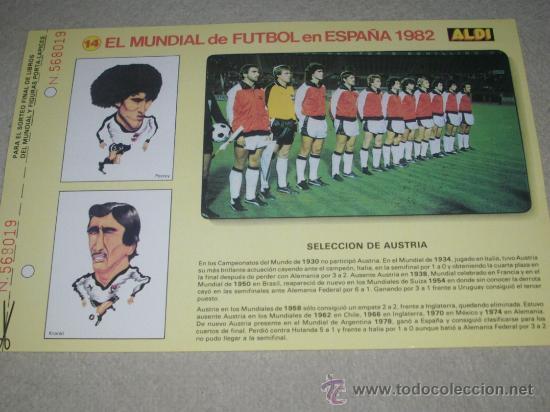 -EL MUNDIAL DE FUTBOL DE ESPAÑA 82 : 14 SELECCION DE AUSTRIA (Coleccionismo Deportivo - Documentos de Deportes - Otros)