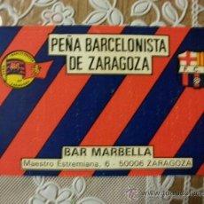 Coleccionismo deportivo: TARJETA VISITA PEÑA BARCELONISTA ZARAGOZA BARCELONA BARÇA AÑO 1990. Lote 32055938