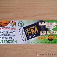 Coleccionismo deportivo: . ENTRADA INVITACIÓN PARTIDO BALONCESTO CLÍNICAS RINCÓN AXARQUÍA VS C.B. LUCENA. VÉLEZ-MÁLAGA. Lote 31090329