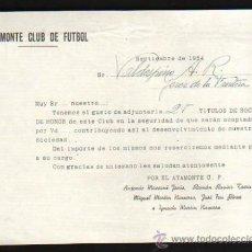 Coleccionismo deportivo: AYAMONTE CLUB DE FÚTBOL, 25 TÍTULOS DE SOCIOS DE HONOR, 1954. Lote 31066371