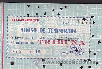 CARNET ABONO TEMPORADA 1956-1957 (Coleccionismo Deportivo - Documentos de Deportes - Otros)