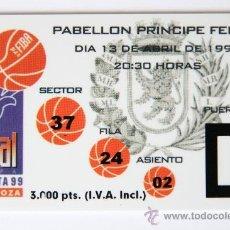 Coleccionismo deportivo: ENTRADA FINAL BALONCESTO COPA SAPORTA 1999 BENETTON TREVISO ITALIA PAMESA VALENCIA RECOPA. Lote 31331307