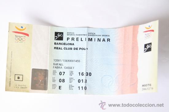 ENTRADA PRELIMINAR HIPICA OLIMPIADA BARCELONA 92 XXV JUEGOS OLIMPICOS 1992 NO USADA!! (Coleccionismo Deportivo - Documentos de Deportes - Otros)
