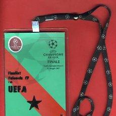 Coleccionismo deportivo: ACREDITACION OFICIAL FUTBOL, UEFA CHAMPIONS LEAGE , VALENCIA CF, FINAL 2001, ORIGINAL, H. Lote 31391384
