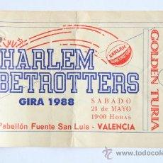 Coleccionismo deportivo: ENTRADA INVITACION HARLEM GLOBETROTTERS 1988 BALONCESTO VALENCIA CERVEZA GOLDEN TURIA. Lote 31614864