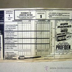 Coleccionismo deportivo: PAPELETA QUINIELA DE FUTBOL, JORNADA ESPECIAL Nº 1 , OCTUBRE DE 1967. Lote 31967954