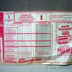 Coleccionismo deportivo: PAPELETA QUINIELA DE FUTBOL, JORNADA Nº 1 , SEPTIEMBRE DE 1967. Lote 31967968