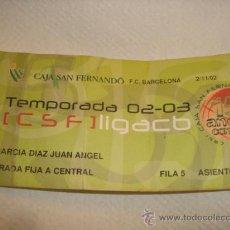 Coleccionismo deportivo: ENTRADA BALONCESTO ACB TEMPORADA 02-03 F.C. BARCELONA. Lote 31958287