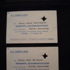 Coleccionismo deportivo: DOS ENTRADAS O PASES ACREDITACIONES, DIRECTIVOS DEL CLUB DE FUTBOL BARCELONA 21-8-1959 SAN REMO.. Lote 32113388