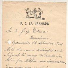 Coleccionismo deportivo: INTERESANTE Y VIEJA CARTA DEL FUTBOL CLUB LA GRANADA 1922. Lote 32190279