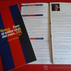 Coleccionismo deportivo: TRÍPTICO CANDIDATURA ELECTORAL LLUÍS BASSAT ELECCIONES 2000 ELECCIONES BARÇA FÚTBOL CLUB BARCELONA. Lote 37998071