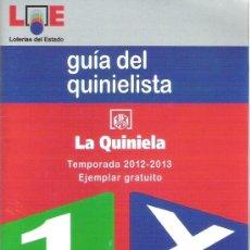 Coleccionismo deportivo: GUIA DEL QUINIELISTA AÑO 2012-2013 (CON CALENDARIO LIGA 1ª Y 2ª DIVISION Y TODAS APUESTAS QUINIELA) . Lote 34333984