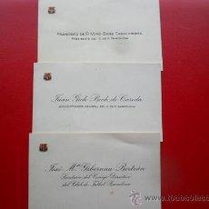 Coleccionismo deportivo: TARJETAS DE PRESENTACIÒN DEL PRESIDENTE MIRÓ SANS Y DIRECTIVOS DEL C, DE F. BARCELONA 1958. Lote 34351466