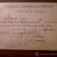 Coleccionismo deportivo: CERTIFICADO DE RECORD FEDERACION CASTELLANA DE ATLETISMO-RECORD DE CASTILLA OCHOCIENTOS METROS LISOS. Lote 34500293