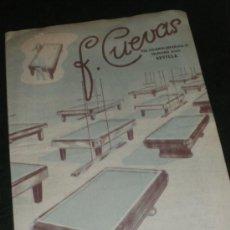 Coleccionismo deportivo: CASA CUEVAS, JUEGOS, DEPORTES, BILLARES, SEVILLA. CATALOGO 57-58. BILLAR.. Lote 36048381