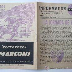 Collectionnisme sportif: INFORMADOR MARCONI, LA JORNADA DE HOY, AT. MADRID- DEPOTIVO MALAGA, FOLLETO FUTBOL TEMPORADA 1950-51. Lote 36077767