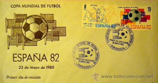 SELLOS SOBRE COPA MUNDIAL DE FUTBOL ESPAÑA 82 1982 PRIMER DIA EMISION 23 MAYO 1980 (Coleccionismo Deportivo - Documentos de Deportes - Otros)