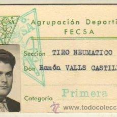 Coleccionismo deportivo: CARNET AGRUPACIÓN DEORTIVA FECSA - SECCION TIRO NEUMATICO. Lote 36527603