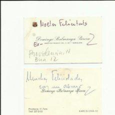 Coleccionismo deportivo: INTERESANTES TARJETAS DE VISITA DE DON DOMINGO BALMANYA FCB Y REAL BETIS.. Lote 36610706