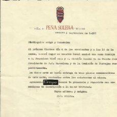 Coleccionismo deportivo: CARTA DE LA PEÑA SOLERA, CENA HOMENAJE A DON MIRO SANS Y A DON NICOLAU CASAUS 2-9-1957.. Lote 36619175