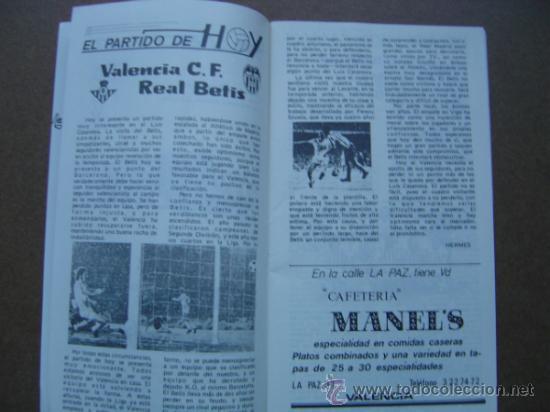 Coleccionismo deportivo: PROGRAMA OFICIAL VALENCIA C,F- REAL BETIS 1973-1974 73-74 CAMPEONATO DE LIGA - Foto 2 - 36720981