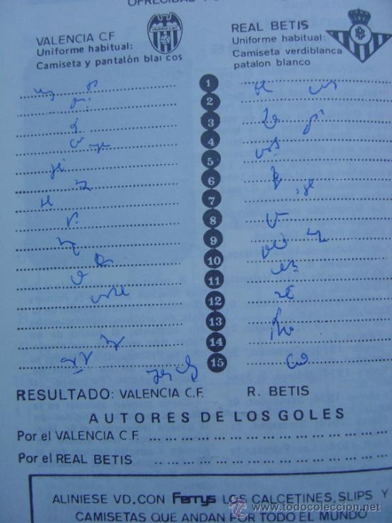 Coleccionismo deportivo: PROGRAMA OFICIAL VALENCIA C,F- REAL BETIS 1973-1974 73-74 CAMPEONATO DE LIGA - Foto 4 - 36720981
