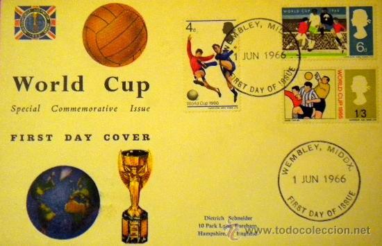 SOBRE SELLO STAMPS COPA MUNDIAL FUTBOL INGLATERRA 1966 WORLD CUP ENGLAND FOOTBALL WEMBLEY (Coleccionismo Deportivo - Documentos de Deportes - Otros)