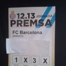 Coleccionismo deportivo: PASE DE PRENSA DERBI LIGA 2012-13 BARÇA FÚTBOL CLUB FC BARCELONA PASILLO RCD R.C.D ESPANYOL ESPAÑOL. Lote 49621848