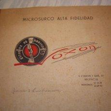 Coleccionismo deportivo: DISCURSO ACCIONISTAS LUIS CASANOVA - DISCO MICROSURCO VOXON - VALENCIA CF -1962 GRABACION EN VINILO. Lote 37485147