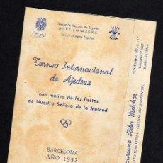 Coleccionismo deportivo: TORNEO INTERNACIONAL AJEDREZ - BARCELONA 1952 - CARTILLA ESTADILLO RESULTADOS. Lote 37865958