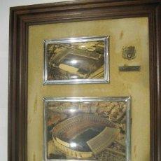 Coleccionismo deportivo: CUADRO DEL FCBARCELONA CON LOS DOS ESTADIOS 1927-1987, 50X40CMS. Lote 38010920