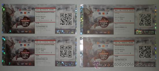 LOTE 4 ENTRADAS - COPA REY DE BALONCESTO - PALAU SANT JORDI BARCELONA FEBRERO 2012 - ACB - BASKET (Coleccionismo Deportivo - Documentos de Deportes - Otros)
