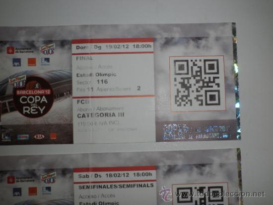 Coleccionismo deportivo: Lote 4 entradas - Copa Rey de Baloncesto - Palau Sant Jordi Barcelona Febrero 2012 - ACB - Basket - Foto 3 - 39239861