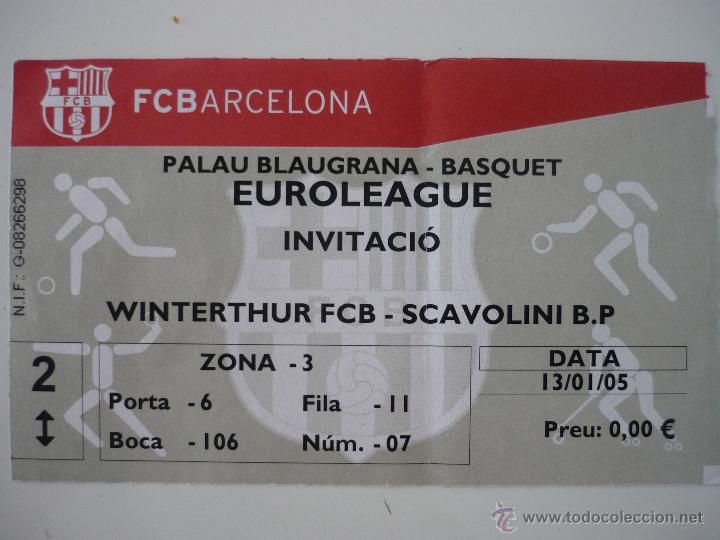 ENTRADA BALONCESTO EUROLIGA PALAU BLAUGRANA FC BARCELONA - SCAVOLINI TEMPORADA 2004 2005 - BARÇA (Coleccionismo Deportivo - Documentos de Deportes - Otros)