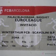 Coleccionismo deportivo: ENTRADA BALONCESTO EUROLIGA PALAU BLAUGRANA FC BARCELONA - SCAVOLINI TEMPORADA 2004 2005 - BARÇA. Lote 39391328