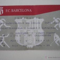 Coleccionismo deportivo: ENTRADA BALONCESTO EUROLIGA PALAU BLAUGRANA BARCELONA - LONDON TOWERS (11.1.01) - BARÇA. Lote 39410271