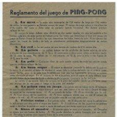 Coleccionismo deportivo: REGLAMENTO DEL JUEGO DE PING PONG. Lote 39580818