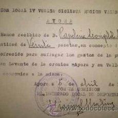 Coleccionismo deportivo: COMISION LOCAL DE LA IV VUELTA CICLISTA A LA REGION VALENCIANA AYORA 1945 VALENCIA. Lote 39570001