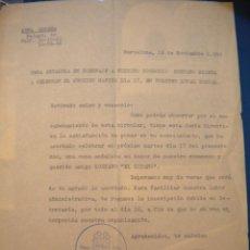 Coleccionismo deportivo: CARTA DE LA PEÑA SOLERA, HOMENAJE A GUSTAVO BIOSCA JUGADOR DEL CLUB DE FUTBOL BARCELONA 12-11-59.. Lote 39617046