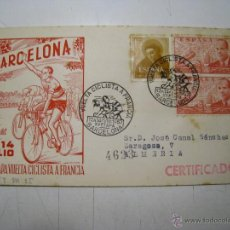 Coleccionismo deportivo: SOBRE COMMEMORATIVO XV ETAPA VUELTA CICLISTA A FRANCIA (TOUR FRANCE) 1957. Lote 39701834
