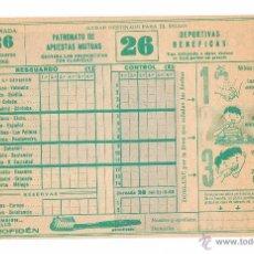 Coleccionismo deportivo: RARA QUINIELA DE FÚTBOL LIGA AÑO 1965 NUEVA SIN RELLENAR DIFICIL. Lote 39810700