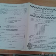 Coleccionismo deportivo: FOLLETO DIPTICO BASES V TORNEO DE AJEDREZ OPEN INTERNACIONAL DE SAN SEBASTIAN ABRIL 1982 INSCRIPCION. Lote 39843120