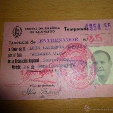 Coleccionismo deportivo: FEDERACION ESPAÑOLA DE BALONCESTO, LICENCIA-CARNET DE ENTRENADOR, 1954. CLUB ATLANTA C.B.. Lote 40450917