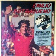 Colecionismo desportivo: EMILIO BUTRAGUEÑO, HOJA DEDICADA AL BUITRE POR LOS 4 GOLES A DINAMARCA EN EL MUNDIAL 86. Lote 40466883